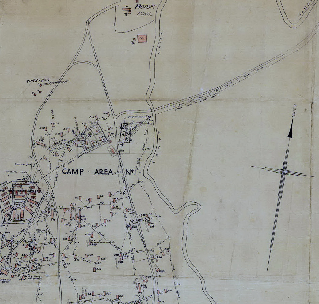 Extract of US Army plan for Camp Columbia adjacent to Sandy Creek at today's Pooh Corner